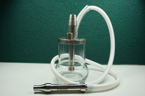 Oduman Micro Reise-Shisha| Elegantes Set | Glasbowl mit hölzernen Edelstahl Rauchsäule | Premiumqualität | 1,5m Silikonschlauch | Schneller Versand