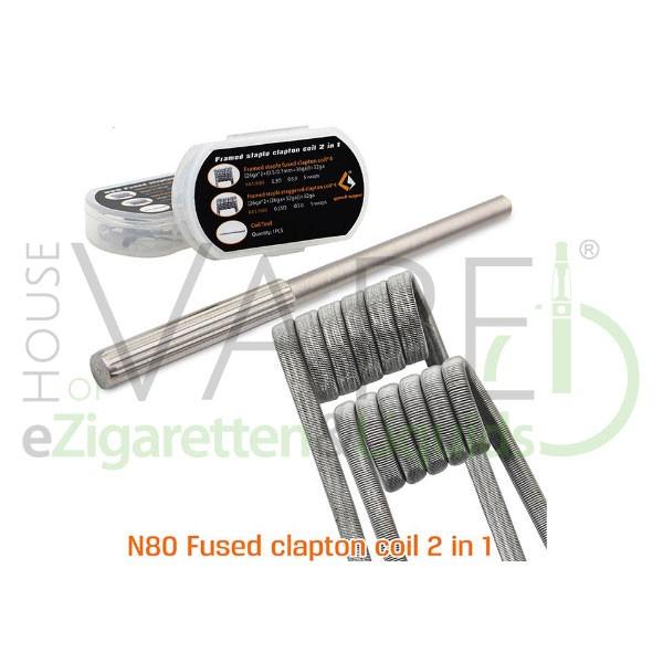 N80 Fused Clapton Coils 8x von Geekvape ♥ 8 Stück ✔ 4x 0,35 Ohm / 4x 0,4 Ohm ✔ Aus Nickel (N80) ✔ Inkl. kleinem Werkzeug ✔ Auch in unseren Shops ✔ Schneller Versand ✔