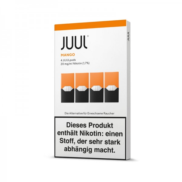 Juul Pods Mango 4er-Pack ♥ Reife Mango mit tropischen Früchten ✔ 4 Stück ✔ Einfach aufstecken und losdampfen ✔ Auch in unseren Geschäften ✔ Schneller Versand ✔