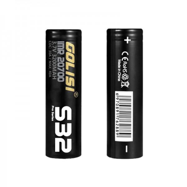 Golisi S32 Batterie ♥ 20700er Hochleistungszelle ✔ IMR ✔ HighDrain ✔ 3200mAh ✔ Dauerlast 30A (Puls bis zu 40A) ✔ Für eZigaretten, Taschenlampen, Heimwerkerzubehör uvm. ✔