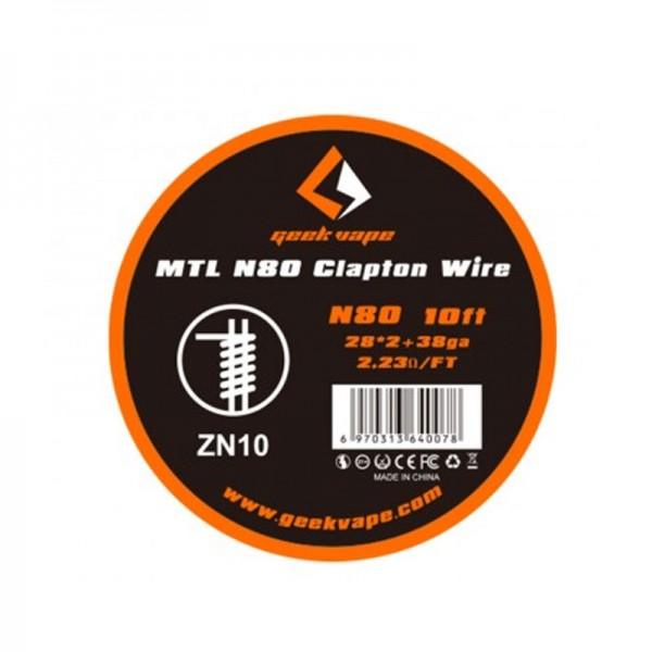 Geekvape N80 MTL Clapton Draht auf Rolle ♥ Ca. 3 Meter ✔ Beliebte Drahtsorte ✔ Schnelle Reaktionszeit ✔ Auch in unseren Shops ✔ Schneller Versand ✔