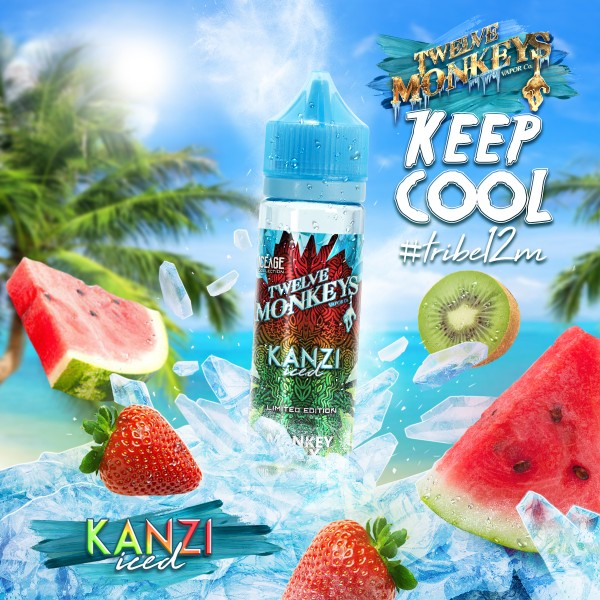 IceAge Kanzi Liquid von 12Monkeys ♥ Shortfill ✔ Wassermelone, Erdbeere, Kiwi, Koolada ✔ Schneller Versand ✔ Auch in unseren Shops ✔ Ab 50€ versandkostenfrei ✔