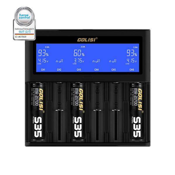 Golisi S6 Intelligentes 6-Schacht-Ladegerät
