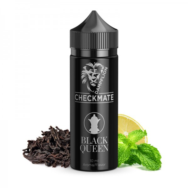 Black Queen Aroma von Dampflion ♥ Schwarztee mit Minze und Zitrone ✔ 8-10% ✔ Inkl. 120ml Leerflasche ✔ Auch in unseren Shops ✔