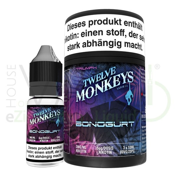 Bonogurt CreamLiquid von 12Monkeys ♥ 3x10ml ✔ Waldfruchtjoghurt ✔ Schneller Versand ✔ Auch in unseren Shops ✔ Ab 50€ versandkostenfrei ✔