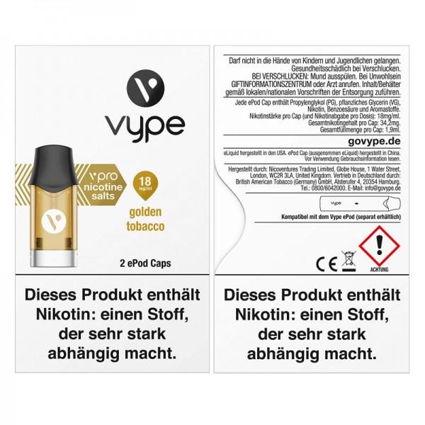 Vype ePod vPro Caps Golden Tobacco 2er Pack