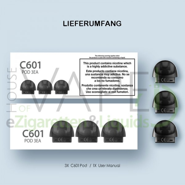 JustFog C601 Pods ♥ 3 Stück ✔ 1,6 Ohm ✔ 1,7ml Tank ✔ Bequemes Befüllen ✔ Dampf und Geschmack ✔