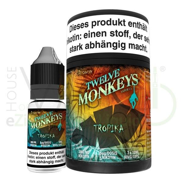 Tropika Liquid von 12Monkeys ♥ 3x10ml ✔ Tropischer Fruchtmix ✔ Schneller Versand ✔ Auch in unseren Shops ✔ Ab 50€ versandkostenfrei ✔