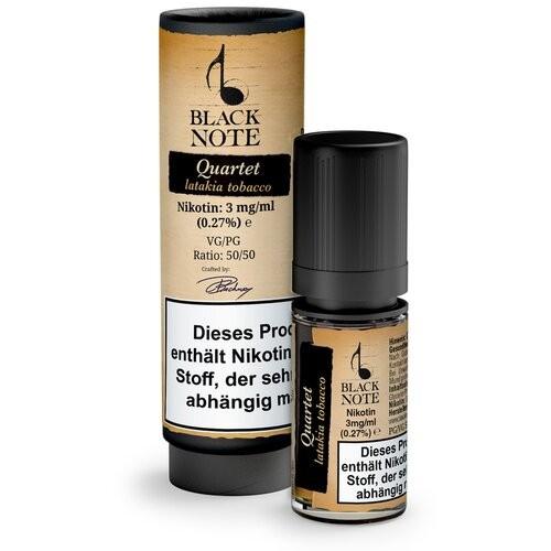 Quartet Liquid von Black Note ♥ Würziger, pfeffrig-rauchiger Tabak ✔ 10ml mit 3,6 oder 12mg Nikotin ✔ Aus echten Tabakblättern ✔